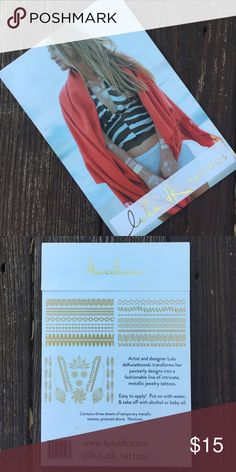 NWT Lulu dk Aurelian temporary tattoos This pack contains three sheets of temporary metallic tattoos. They are easy to apply! Put on with water and take off with alcohol or baby oil. lulu dk Other