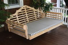 Check out this 6 foot cedar Marlboro porch swing bed - pair with a lovely 6' swing bed cushion.  Mix and match stains and fabrics to fit your existing decor.