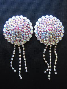 Crown Jewel burlesque pasties with aurora borealis rhinestone chain tassels…