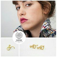 Handmade 14k gold nose stud & earrings with diamonds