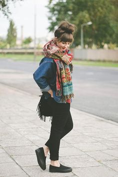 Brick Red Zara Scarf - Black New Look Shoes - Dark Blue Romwe Jacket - denimjacket Casual Outfits, Fashion Outfits, Womens Fashion, New Look Shoes, Seattle Fashion, Outfit Invierno, Up Girl, Looks Style, Her Style