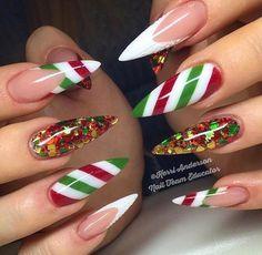 Christmas Nails – 36 Beautiful And Stylish Christmas Stiletto Nail Art Designs; Holiday Nail Art, Christmas Nail Art Designs, Winter Nail Designs, Christmas Decorations, Holiday Candy, Christmas Candy, Xmas Nails, Fun Nails, Santa Nails