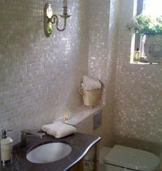 Mother Of Pearl Tiles In A Bathroom Beautiful