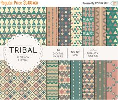 "Flash:66% Off Entire Shop Tribal digital paper  tribal backgrounds and aztec pattern with triangles and tribal arrows for birthday party an by DesignLitter  1.70 USD  Tribal digital paper. Digital papers pack ""Tribal"" with tribal pattern Tribal backgrounds and aztec pattern. Tribal digital paper with triangles and tribal arrows in neutral and soft colors like pink brown and cream. Tribal and aztec decorations. You will receive: 14 digital papers .JPG high resolution 300 dpi 12x12 inches…"