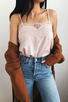 Maddox Pale Pink Satin Lace Cami - Perfect Cami + cardigan layered look. Mode Outfits, Casual Outfits, Fashion Outfits, Womens Fashion, Office Outfits, Fashion Trends, College Outfits, Sweater Outfits, Ladies Fashion