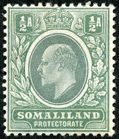 """1912 Scott 58 light blue & black """"George V"""" Quick History The Somaliland Protectorate (British Somaliland) bordered on the Gulf of A. Colonial, German East Africa, Horn Of Africa, British Indian Ocean Territory, Thing 1, Stamp Collecting, Ethiopia, Postage Stamps, Uganda"""