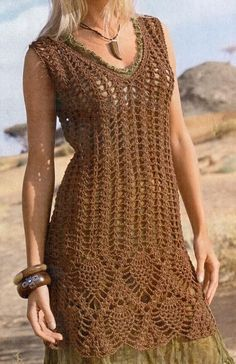 Tejidos - Knitted - Crochet Sweater: Crochet Tunic Dress For Women - Free Pattern Cardigan Au Crochet, Gilet Crochet, Crochet Lace, Knit Dress, Crochet Summer, Crochet Sweaters, Crochet Tops, Irish Crochet, Crochet Style