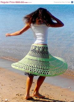 ON SALE. 30% OFF. Bright Lime wide lacy crochet skirt with sewn lining, light Green.