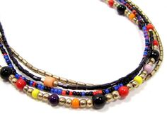 """GOLD TONE 20"""" BLACK  RED YELLOW PINK BLUE ORANGE GLASS BEAD 4 STRAND NECKLACE…"""