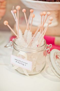 I could totally make rock candy sticks like these for my wedding! Theyre so pretty, and they look kinda icy :) Make Rock Candy, Rock Candy Sticks, Wedding Candy, Wedding Desserts, Sucre Candi, Gastro, Winter Wonderland Party, Hey Gorgeous, Candy Buffet