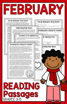 February reading activities are fun for 3rd grade, 4th grade, 5th grade students with this reading packet full of reading comprehension passages, Valentine's Day reading activities, writing activities, literacy centers, February centers, and poetry! Perfect for small groups, reading lesson plans, teaching ideas, and reading centers. Valentine's Day   President's Day   Teaching Ideas