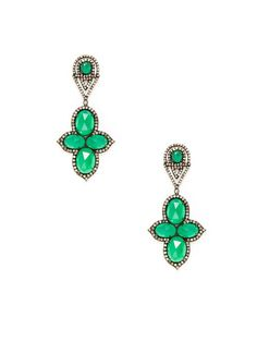 Oval Emerald & Green Onyx Cluster Drop Earrings by Amrapali at Gilt