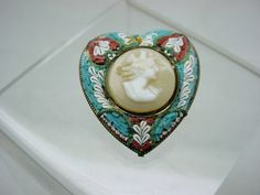ANTIQUE MICRO MOSAIC HEART PIN w CARVED CAMEO