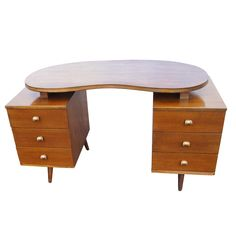mid century wooden desk and chair 2