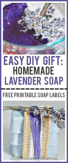 Easy DIY Gift Idea - Easy melt and pour homeade lavender soap with free printable soap labels Easy Diy Gifts, Homemade Gifts, Diy Soap Easy, Useful Gifts, Simple Soap, Homemade Products, Bath Products, Fun Gifts, Unique Gifts