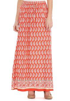 Paisley Border Print #Maxi Skirt #catofashions www.catofashions.com