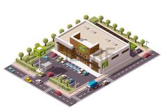 edificio de la tienda de comestibles isométrica