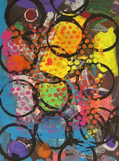 """Summer Camp Art Week - K circles - printmaking with found objects - to go with the story """"the dot"""" about a little girl who thinks she isn't an artist until a special art teacher shows her otherwise."""