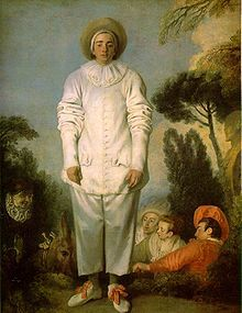 "Watteau's commedia dell'arte player of Pierrot, ca 1718–19, traditionally identified as ""Gilles"" (Louvre)"