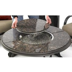Outdoor GreatRoom Company 42 Inch Chat Propane Fire Pit Table With Granite Top And Lazy Susan : Fire Pit Guys Cindy, this is pricey but it is the general idea. It might be lower to the ground like this one, or taller. Round Fire Pit Table, Fire Pit Coffee Table, Gas Fire Pit Table, Coffee Tables, Outdoor Propane Fire Pit, Outdoor Fire, Outdoor Living, Outdoor Heaters, Outdoor Stuff