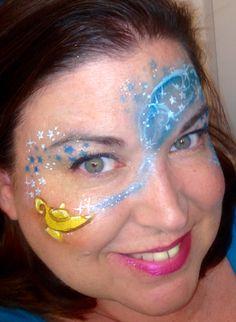 Aladdin lamp genie face paint by Amanda Nelson of Amazing Face by Amanda Nelson Orlando FL
