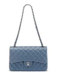 ce15f541fa3 Chanel Blue Grey Lambskin Classic Jumbo 2.55 Double Flap Bag Chanel Double  Flap