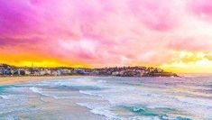 A Day At Bondi Beach is an absolute must when visiting Sydney, Australia. Go swimming, surfing, and eat your way along the boardwalk! Bondi Beach Australia, Sydney Beaches, Visit Sydney, Beach Scenes, Pacific Ocean, Palm Beach, Sunrise, Surfing, Waves