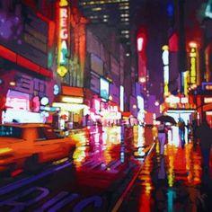 by night - Patrick Kinn Manhattan, Art Gallery, New York, Landscape, Night, Artwork, Painting, Toile, Artist