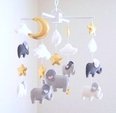 Gray and white elephant baby mobile baby by dlgNurseryBoutique