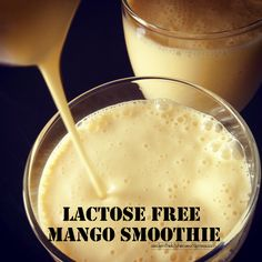 Mango smoothie (no added refined sugar, lactose free). You can use coconut milk yogurt comes in Greek and regular. Lactose Free Smoothies, Lactose Free Recipes, Fruity Drinks, Juice Drinks, No Sugar Added Recipe, Coconut Milk Yogurt, Sugar Free Diet, Nutribullet Recipes, Sans Lactose