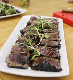 Went to a food workshop last week. Did pan seared tuna  with black sesame seed and Asian style sauce with yuzu.