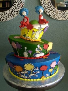 dr suess cake - love the topper!!/ For you, Shanna!