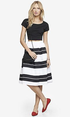 Tried it, love it! Work-to-dinner with d'orsay pumps and a wide-collared slim blouse. Express High Waist Full Midi Skirt