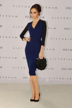 Black Navy Color Block Long Sleeve V Neck Pencil Celebrity Designer Dress http://www.sheeklady.com/