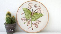 Luna Moth hand embroidery hoop art, wall handing textile art