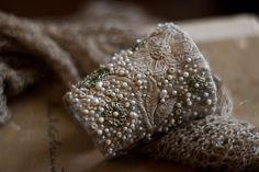 Браслеты ручной работы. Заказать Текстильный браслет манжета в стиле бохо с вышивкой (отложено). Алина Берёзкина. Ярмарка Мастеров. Айвори