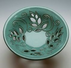 NEW Ceramic Fruit Bowl Turquoise Leaf Carved Bowl by MaryLaabs
