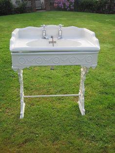 Wow. Original Antique Victorian Bathroom Sink with Cast Iron Stand.