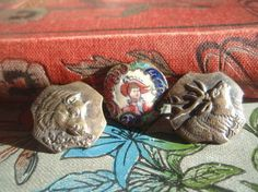3 Rare Vintage Metal Buttons Stag, Wild Boar and Enamel Crinoline Lady