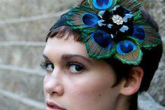 *    Wedding Formal Peacock Feather Flower Lace Headband - Holiday Hair - Flapper Inspired - Black Brooch with Gold and Swarovski Center