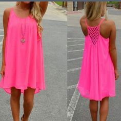 SALE Sleeveless Neon Pink Beach Dress Bright Pink Beach Party Dress! Lined down to last few inches of the dress that is sheer for a sexy look! Dresses Mini