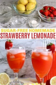 Sugar free strawberry lemonade is easy to make and this homemade summer drink won't give you guilt. Made with fresh strawberries & lemons! This is a great WW drink option with zero points for all 3 plans. via @sweeterbydesign Summer Recipes, Great Recipes, Holiday Recipes, Easy Recipes, Healthy Recipes, Smoothie Recipes, Drink Recipes, Smoothies, Dessert Recipes