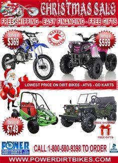Christmas dirt bike sale! Visit www.powerdirtbikes.com/dirt-bikes