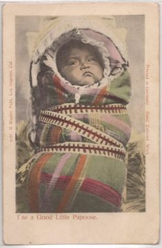 """1900s M. RIEDER Native Americana Postcard """"I'se a Good Little Papoose"""" Unused"""