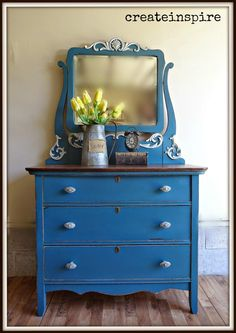 Painted Furniture ~ BLUE / {createinspire}: Antique Dresser in Seaside from Fusion Mineral Paint Furniture Styles, Home Decor Furniture, Shabby Chic Furniture, Furniture Projects, Furniture Makeover, Blue Furniture, Antique Furniture, Diy Projects, Hand Painted Furniture