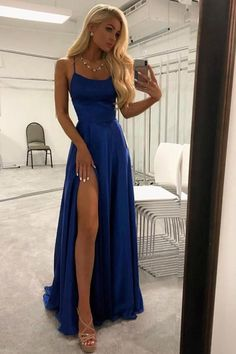 Simple A-line Long Prom Dress with Slit Sweet 16 Dance Dress.- Simple A-line Long Prom Dress with Slit Sweet 16 Dance Dress Fashion Winter Formal Dress Simple A-line Long Prom Dress with Slit Sweet 16 Dance Dress Fashion Winter Formal Dress - Royal Blue Prom Dresses, Cute Prom Dresses, Prom Outfits, Women's Dresses, Cheap Dresses, Pretty Dresses, Dress Prom, Party Dress, Party Gowns