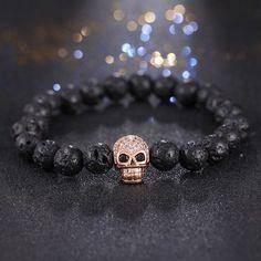 Skull Lava Stone Beads Bracelet