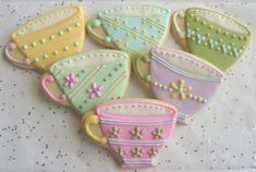 BREAK TIME - Tea Cup Cookie Favors - Tea Cup Decorated Cookies - Cookie Favors…