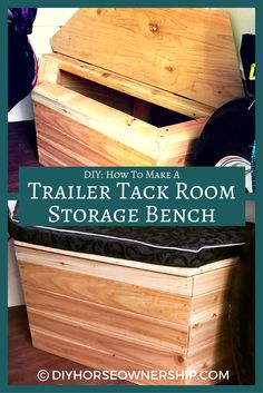 DIY: Do It Yourself How To Make a Custom Storage Bench for your Horse Trailer Tack Room Horse Trailer Organization, Tack Room Organization, Trailer Storage, Trailer Diy, Trailer Decor, Trailer Remodel, Horse Stalls, Horse Barns, Horse Horse