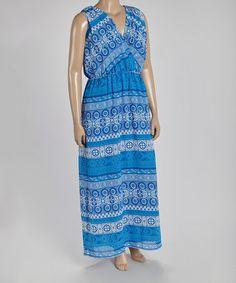 Look at this #zulilyfind! Blue Arabesque Surplice Maxi Dress - Plus #zulilyfinds